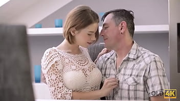 OLD4K. Chesty gal receives hot sperm on body after sex with old lover