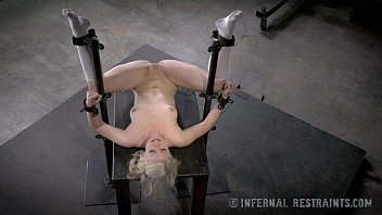 Sex restraint tables Thin blonde submissive in device bondage