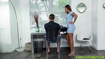 Stepmom Havana Bleu kneels and gags on her stepsons long hard cock showing him her perfect caramel tits