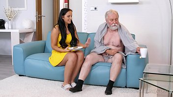 Sexy man on man Dark haired hottie visits an old man relaxing on couch