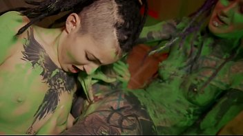 two cute tattooed dreadgirlz getting wild while painting the room squirting sec