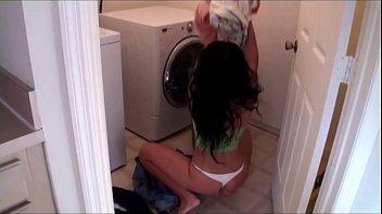 Mom sucks son's dick in laundry room