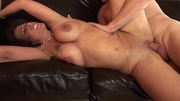 Hungry brunette with huge tits deep throats hunk's tool before he creams her
