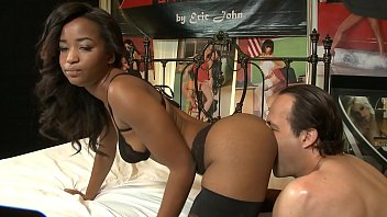 Teen black stockings - Ebony star ivy sherwood in nylon stockings and high heels rides white meat