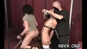 Exposed slut gets aroused while being tied to the bed
