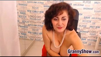 Granny In Stockings Rubbing Her Pussy