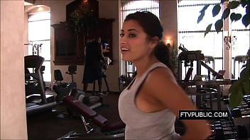 Busty latina at public gym
