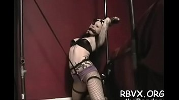 Free move bondage Ballgagged and unable to move, this doxy gets stimulated