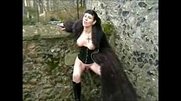 Goth Babe in Furry Coat Pisses Outdoors 3