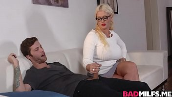 Alura Jensen sucking Dylan Snows cock while her daughter is s.