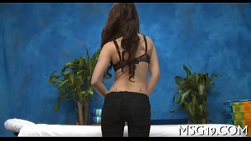 Cute masseuse shows off body