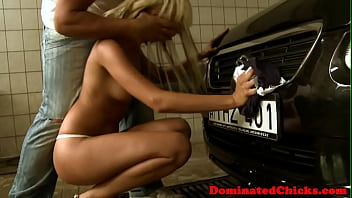 Submissive euro pussyfucked in the car wash