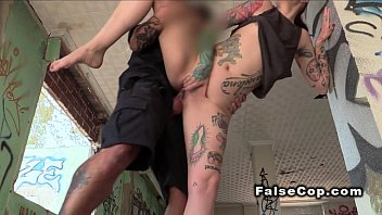 Fake cop bangs tattooed sexy redhead babe outdoor