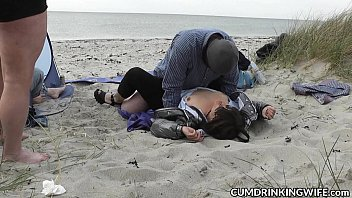 Gangbang in public video - Slutwife fucked and creampied by strangers on the beach