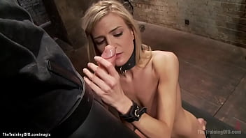 Bound blonde riding big dick gimp