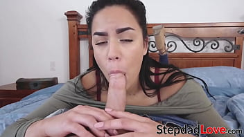 Latina POV Monica Sage riding hard for stepdaddys facial
