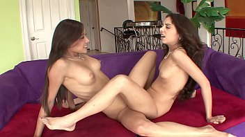 Girls try lesbian relations - Two hot tight pussy college teens try on lingerie leads to scissoring sex