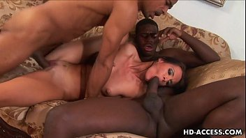 Sexy brunette loving gangbang with black dudes