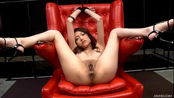 Shaved Japanese babe Ibuki has her legs spread for guys to finger her snatch Thumb
