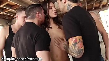 FIRST GANGBANG- FUCKED HARD IN ALL HOLES