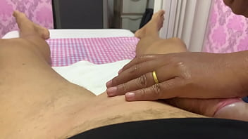 Busty Milf does Brazilian Waxing  and post wax massage of guy with a huge cock 32 min