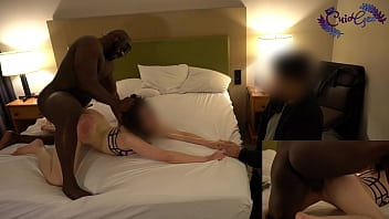 Andi getting used on a leash while hubby helps