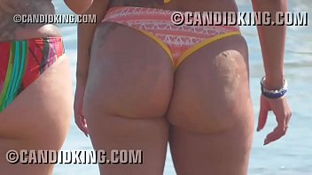 Big butt Milf mom caught at the beach in a thong bikini!