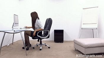 Huge boobs secretary fucks 9 inches of hard cock thumbnail