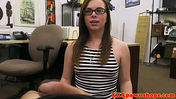 Nerdy petite pawnee fucks pawnbroker for cash