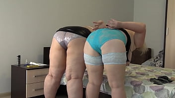 Mature strict teachers teach how to obey, lick a shaved pussy and fuck a pink vagina correctly. Big tits and juicy PAWG of two plump lesbians.