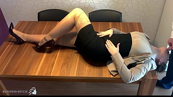 business woman in nude stockings used for face fuck and deep throat