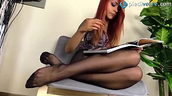 Redhead feet in RHT black pantyhose