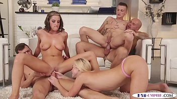 Bi studs fucking pussies and asses in group
