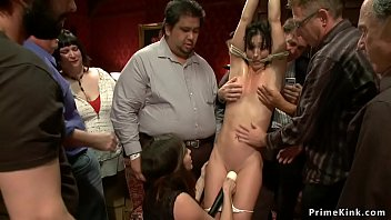 Brunette slut is dp fucked in public