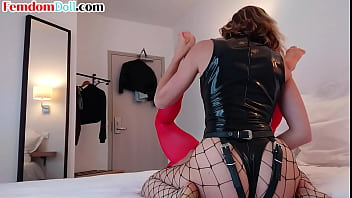 Latex femdom pegging bonded submissive with her big strapon