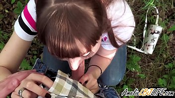 Girlfriend Public Blowjob Cock Student in the Wood - Oral Creampie preview image