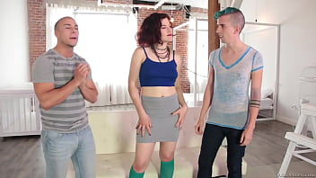 Horny woman makes two studs drill each other deep