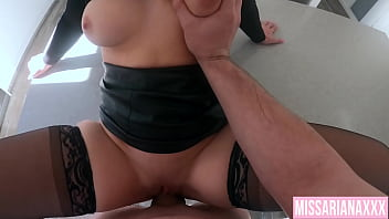 Fucking On The Kitchen Bench After Work - CREAMPIE POV