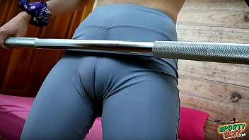 Perfect Puffy Cameltoe Busty Teen Working Out in Tight Lycra Spandex
