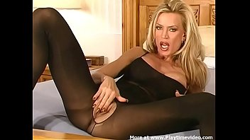Amber Lynn 80's Porn Star Sexy Black Bodystocking SOLO Jerk Off Encouragement!