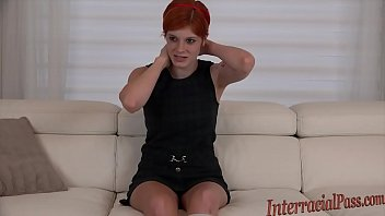 Young redhead Ava Little disgraces daddy by hard interracial