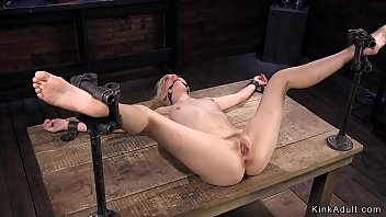Spreaded legs b londe in bdsm vibrated ibrated