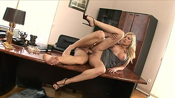 Male office cleaner also has to clean the blonde boss's asshole with a special brush