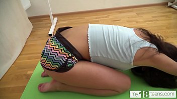 MY18TEENS -  Katty West practices yoga very sexually, then exposes herself and masturbates.