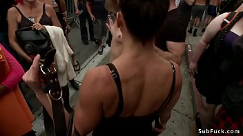 Ariel X and Bill Bailey dominate and fuck throat of blonde slave Mona Wales in public restroom then disgrace her bdsm folsom street fair