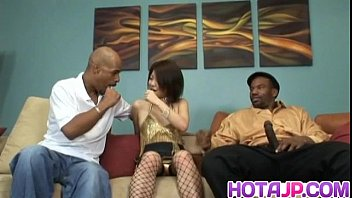 Rei sucks cock while is screwed in interracial threesome