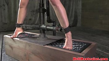 Electro zapped skank on whipping bench