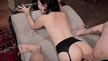 Spreaded mouth slave gets fucked