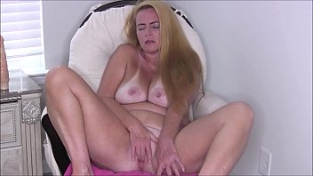 Blonde MILF Naked and Masturbating In Chair