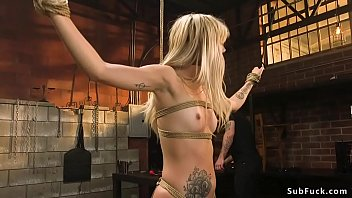 Pierced cunt blonde is fucked in bondage thumbnail